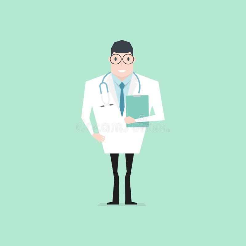Het karakter die van het artsenbeeldverhaal een klembord houden vector illustratie