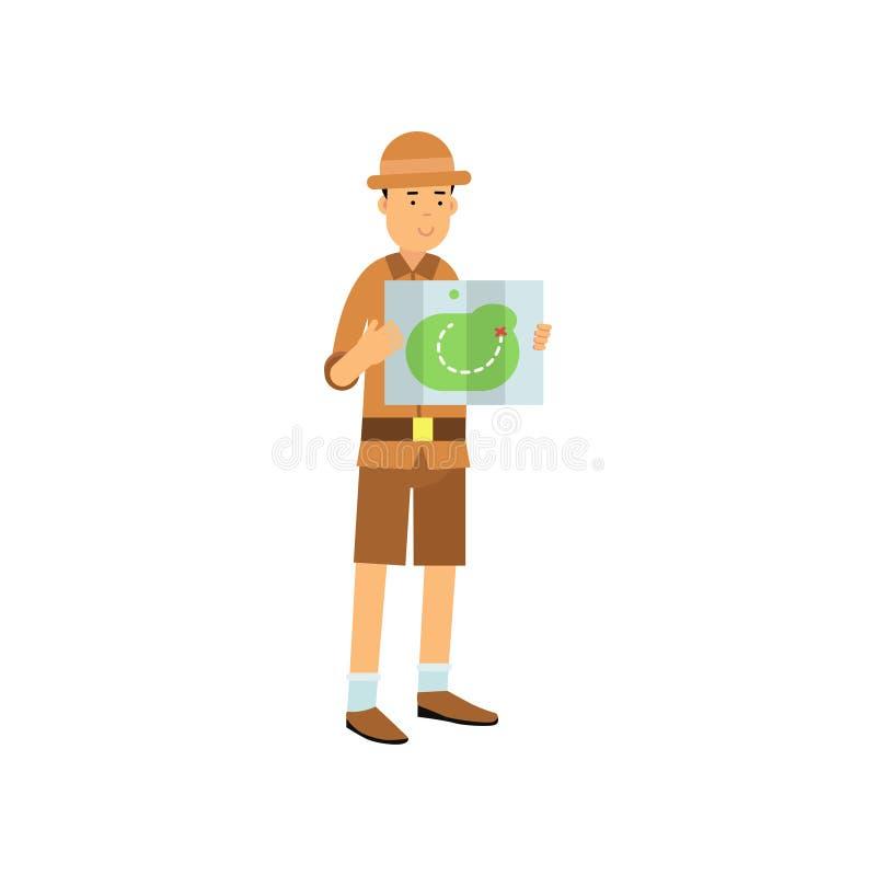 Het karakter die van de beeldverhaalarcheoloog de kaart bestuderen stock illustratie