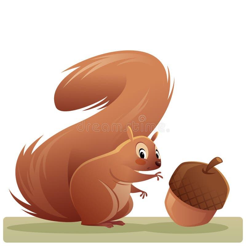 Het karakter die van de beeldverhaaleekhoorn een eikel geïsoleerde zieke vector bereiken vector illustratie