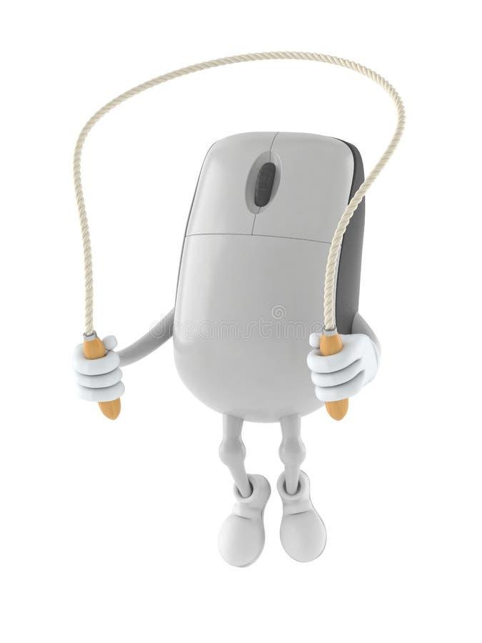 Het karakter die van de computermuis op touwtjespringen springen stock illustratie