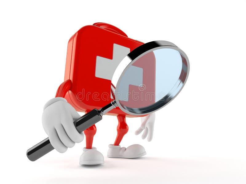 Het karakter die van de eerste hulpuitrusting door vergrootglas kijken stock illustratie