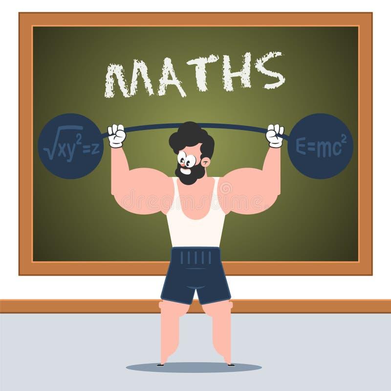 Het karakter die van het WISKUNDEbeeldverhaal oefening in klaslokaal doen vector illustratie