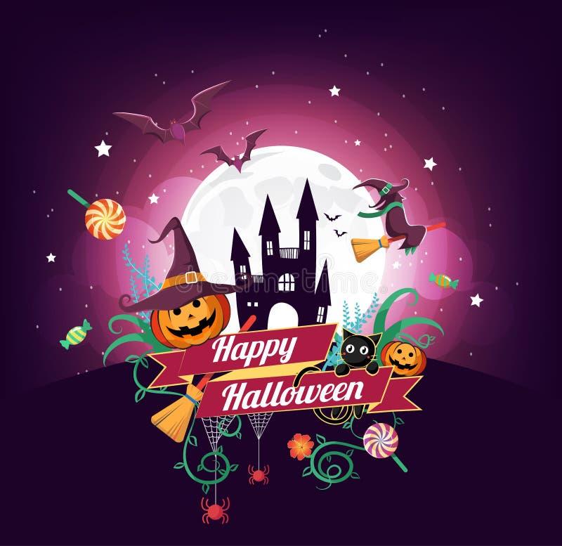 Het karakter en het element van Halloween ontwerpen kenteken op volle maanachtergrond, Truc of behandelen Concept, vectorillustra royalty-vrije illustratie