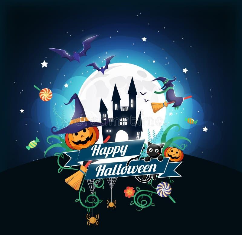 Het karakter en het element van Halloween ontwerpen kenteken op volle maanachtergrond, Truc of behandelen Concept, vectorillustra vector illustratie