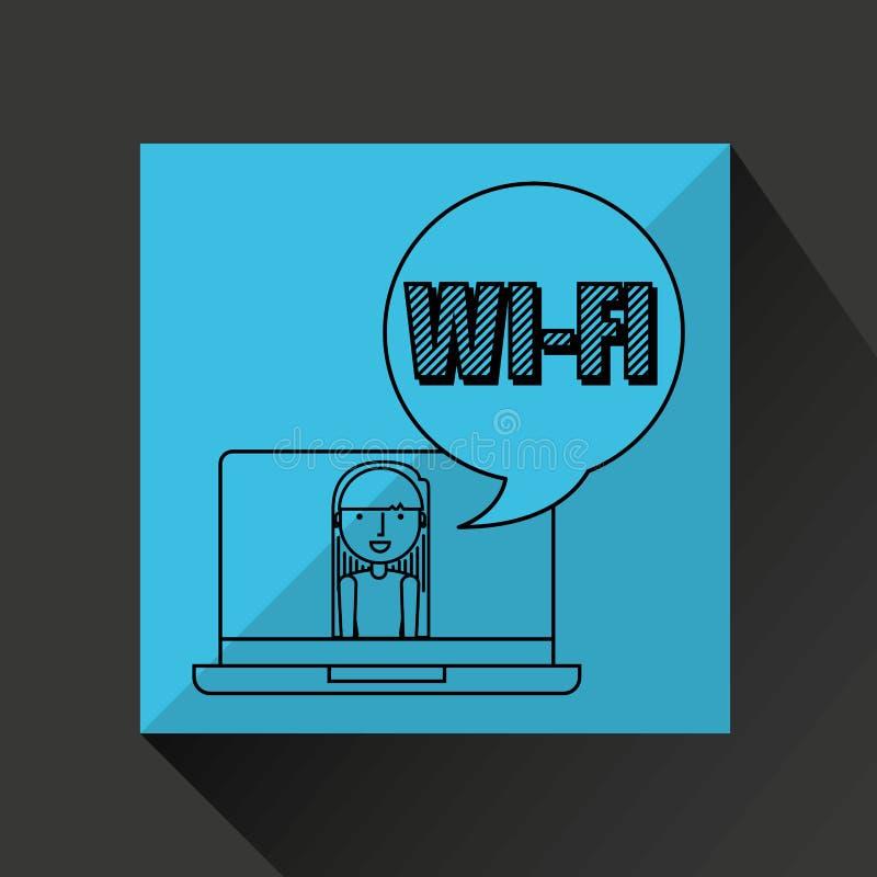 Het karakter trekt de sociale media van de wifitechnologie vector illustratie