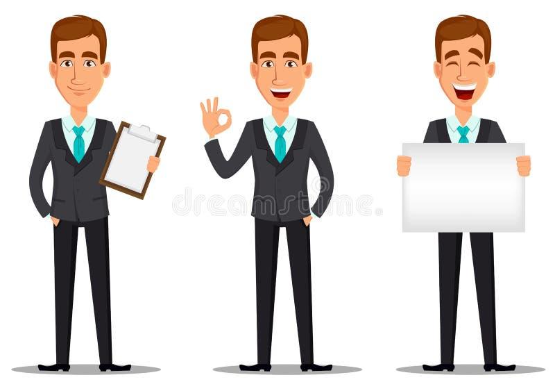 Het karakter van het bedrijfsmensenbeeldverhaal Jonge knappe glimlachende zakenman in pak vector illustratie