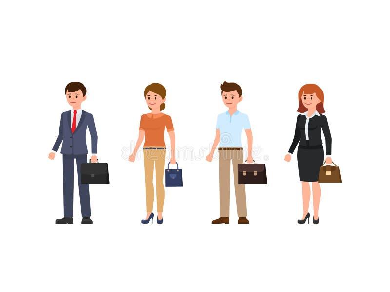 Het karakter van het bedrijfsmensenbeeldverhaal - reeks Jonge mannen en vrouwen die zich met aktentas en zak bevinden stock illustratie