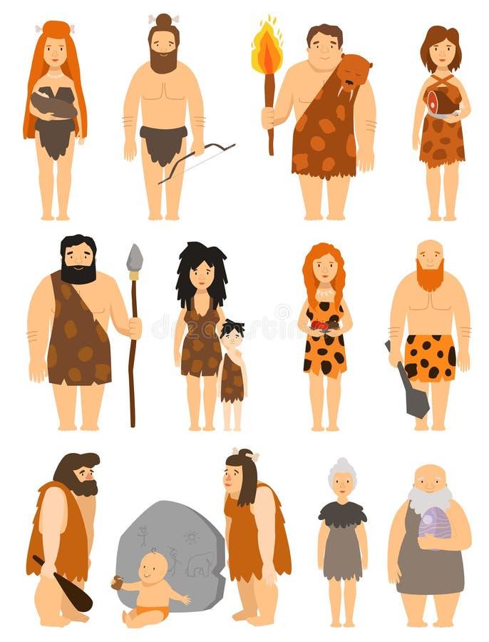 Het karakter van beeldverhaalbarbaren - vastgestelde vector protoman Neanderthaler de evolutieillustratie van de holbewoner onger royalty-vrije illustratie