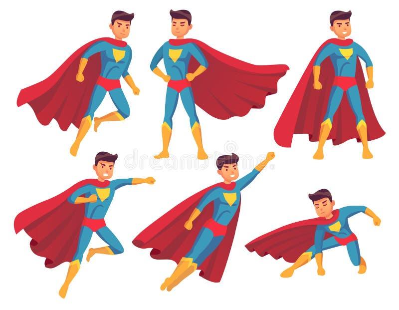 Het Karakter van beeldverhaalsuperhero De spier mannelijke status in super koel stelt in superheroes kostuum met golvende mantel  vector illustratie