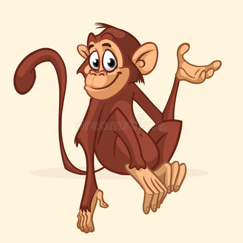 Het karakter van de beeldverhaalaap Vectorillustratie van grappige chimpansee stock illustratie