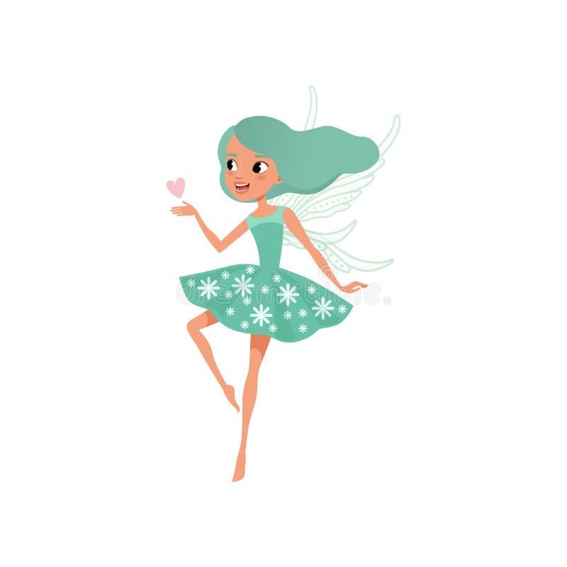 Het karakter van de beeldverhaalfee Mooi meisje met lang turkoois haar die leuke kleding dragen Denkbeeldig fairytaleschepsel vla stock illustratie