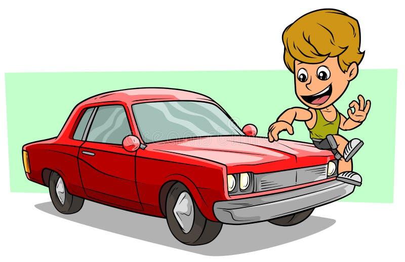 Het karakter van de beeldverhaaljongen op rode Amerikaanse retro auto royalty-vrije illustratie