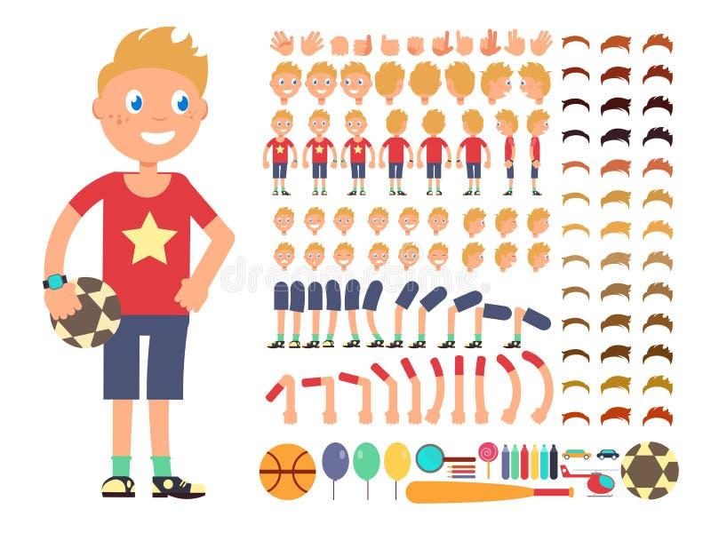 Het karakter van de beeldverhaaljongen Vectorverwezenlijkingsaannemer met verschillende emoties en lichaamsdelen vector illustratie