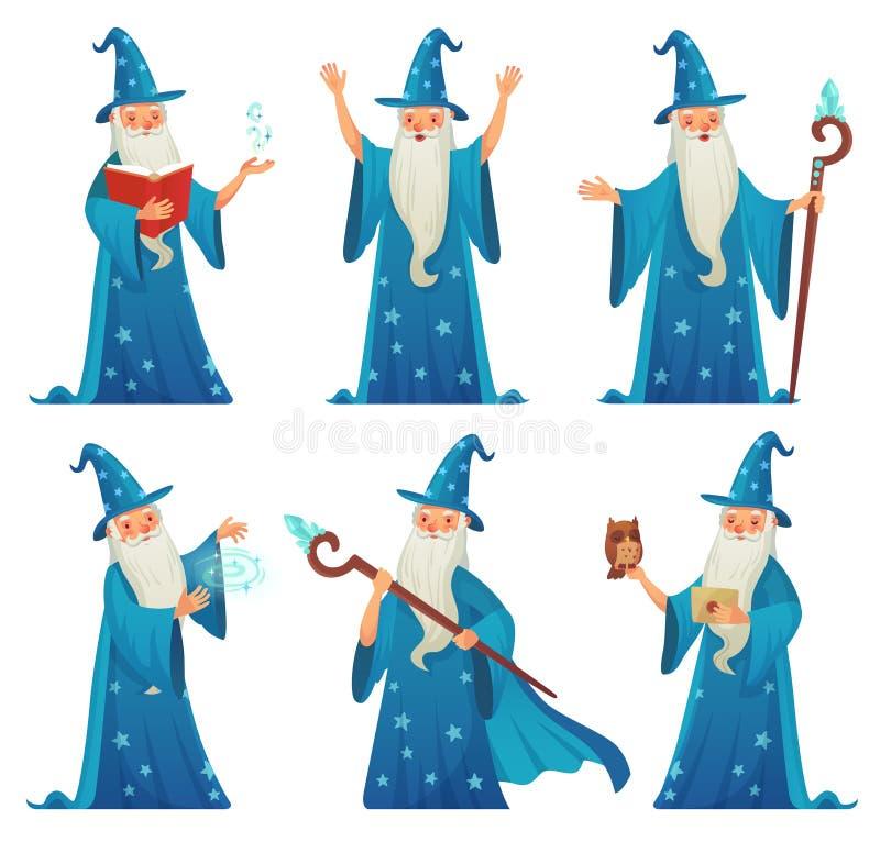 Het karakter van de beeldverhaaltovenaar De oude heksenmens in tovenaarsrobe, de tovenaartovenaar en de magische middeleeuwse tov vector illustratie