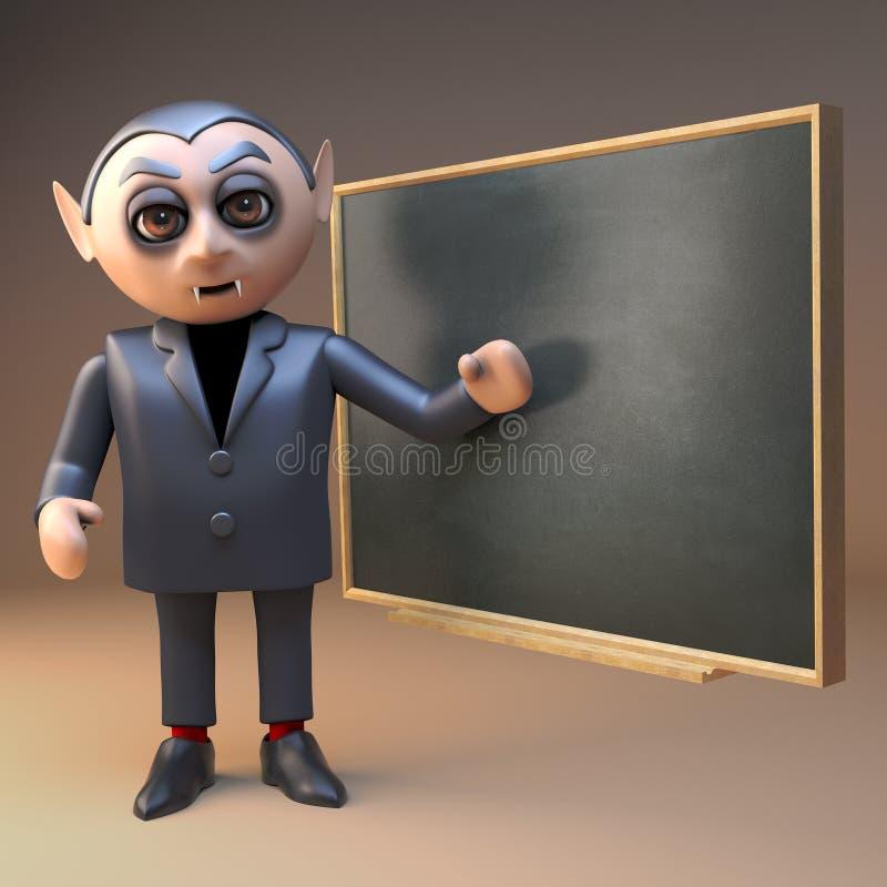 Het karakter van de Draculavampier met hoektanden onderwijst een les bij het bord, 3d illustratie royalty-vrije illustratie