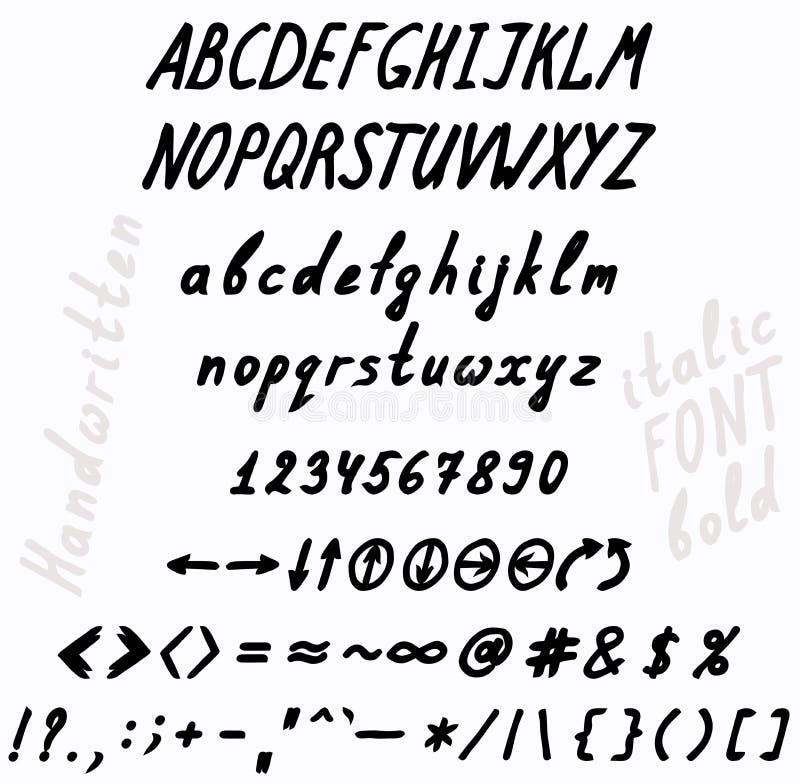 Het karakter van de handschriftdoopvont - reeks royalty-vrije illustratie