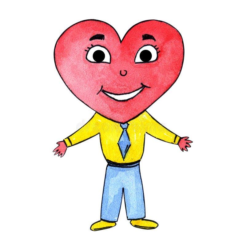 Het karakter van de hartjongen vector illustratie