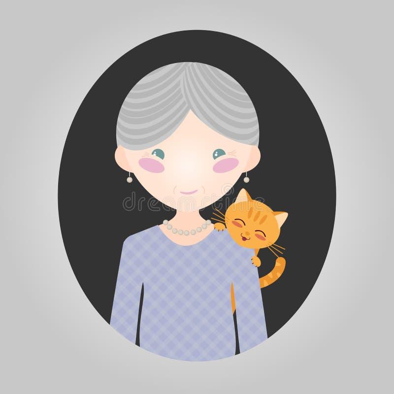 Het karakter van de kattenminnaar Vector oud damepersonage voor plaats of toepassing vector illustratie