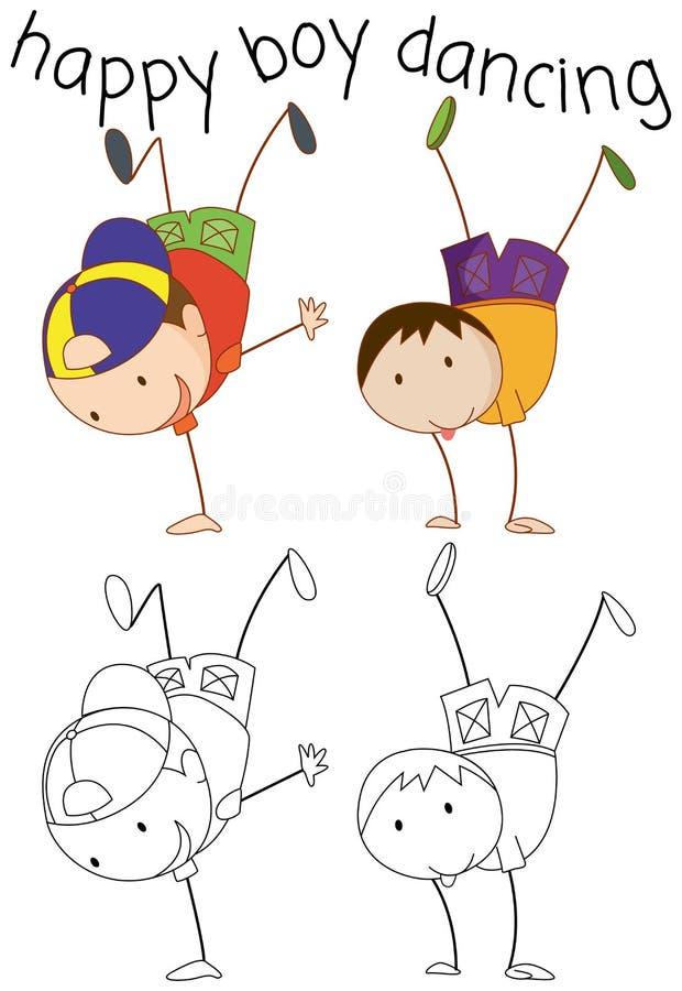 Het karakter van de krabbeljongen het dansen royalty-vrije illustratie
