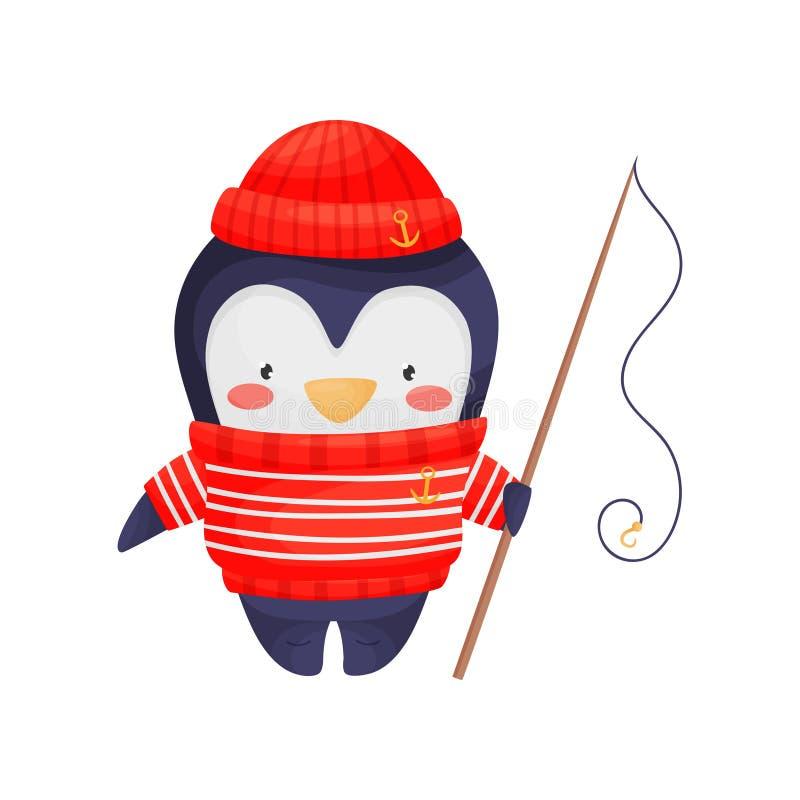 Het karakter van de pingu?nzeeman in beeldverhaalstijl in een rode witte gestreepte sweater, gebreide hoed met een hengel in zijn vector illustratie