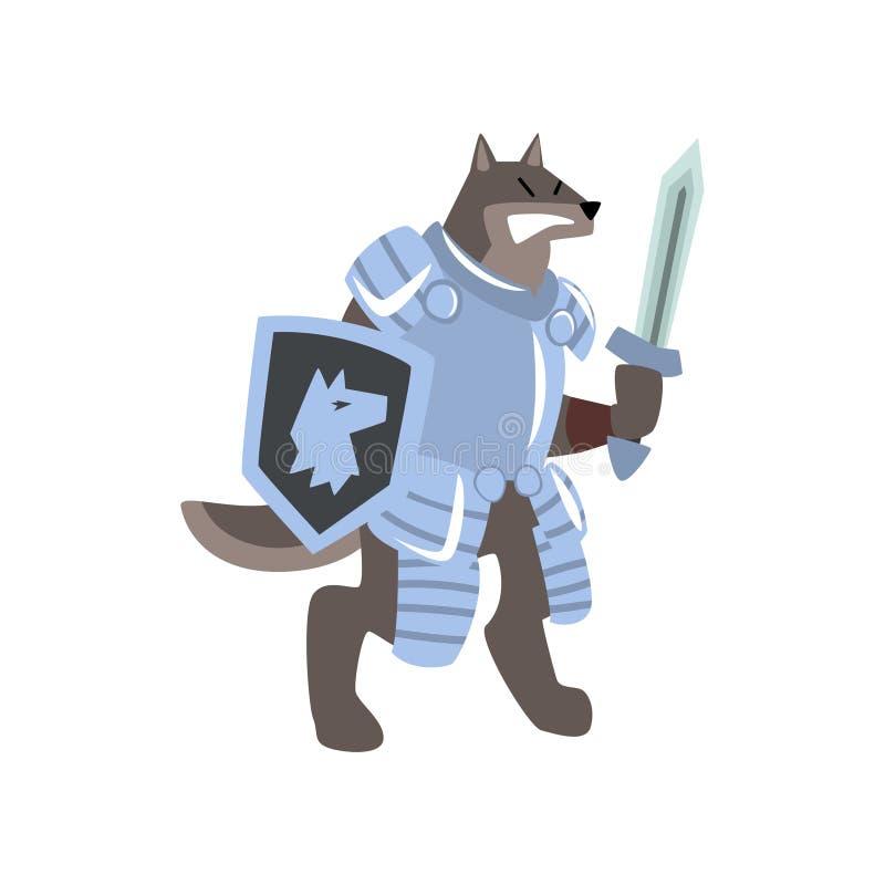 Het karakter van de ridderhond met schild en zwaard vectorillustratie op een witte achtergrond royalty-vrije illustratie