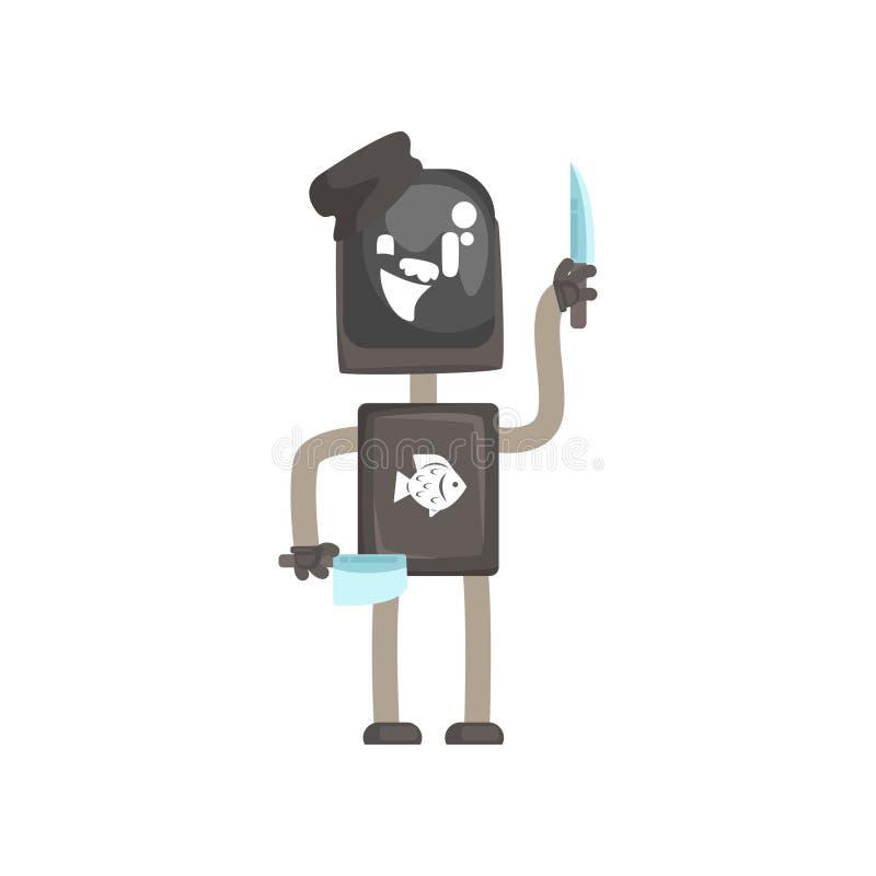 Het karakter van de robotarbeider, androïde met messen aan de scherpe vectorillustratie van het vissenbeeldverhaal royalty-vrije illustratie