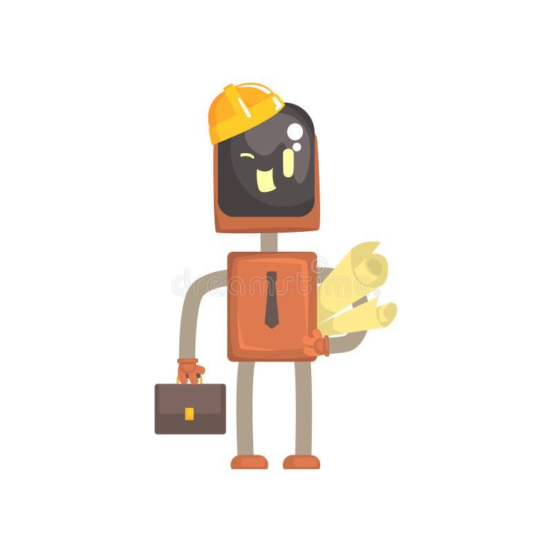 Het karakter van de robotarchitect, de androïde status met aktentas en het document rollen beeldverhaal vectorillustratie royalty-vrije illustratie