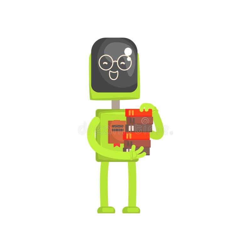 Het karakter van de robotbibliothecaris, androïde met boek in zijn vectorillustratie van het handenbeeldverhaal vector illustratie