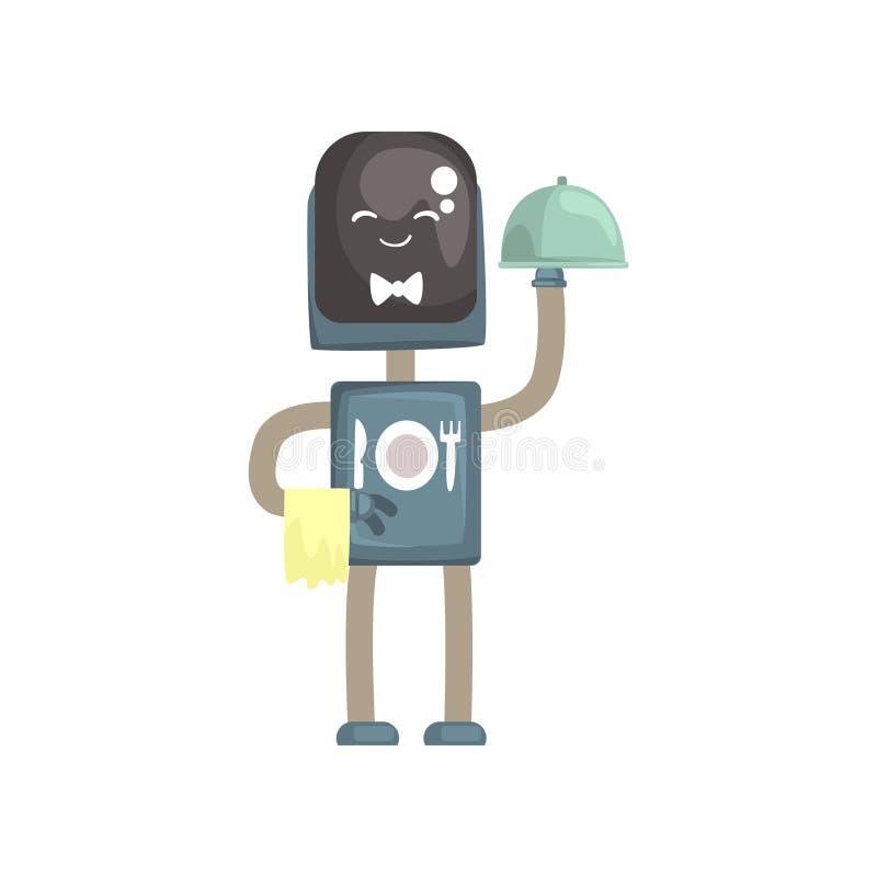 Het karakter van de robotkelner, androïde met met de vectorillustratie van het glazen kapbeeldverhaal vector illustratie