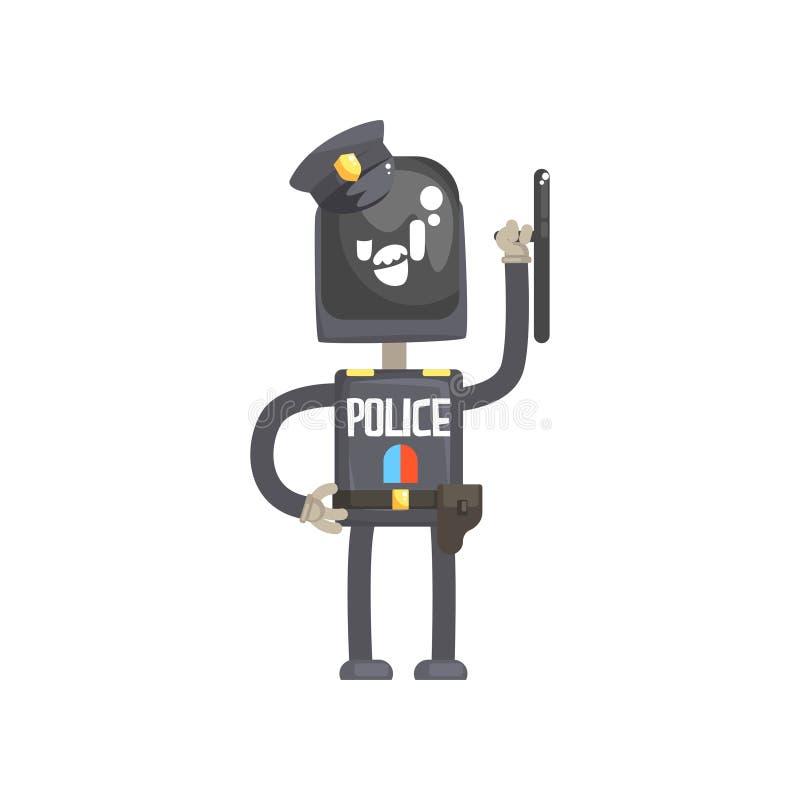 Het karakter van de robotpolitieagent, androïde in blauwe eenvormig met de vectorillustratie van het materiaalbeeldverhaal royalty-vrije illustratie