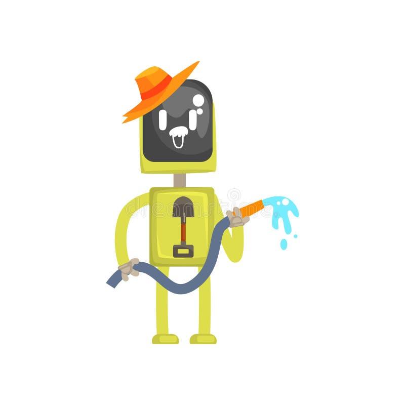 Het karakter van de robottuinman, androïde status met het water geven van slang in zijn vectorillustratie van het handenbeeldverh vector illustratie