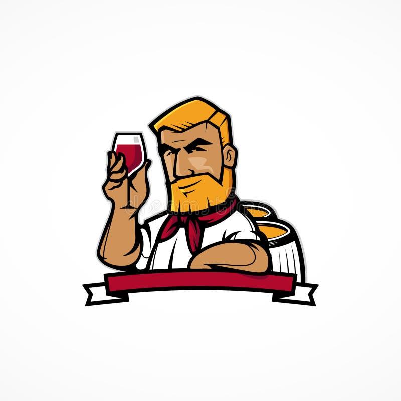 Het karakter van de wijnmaker vector illustratie
