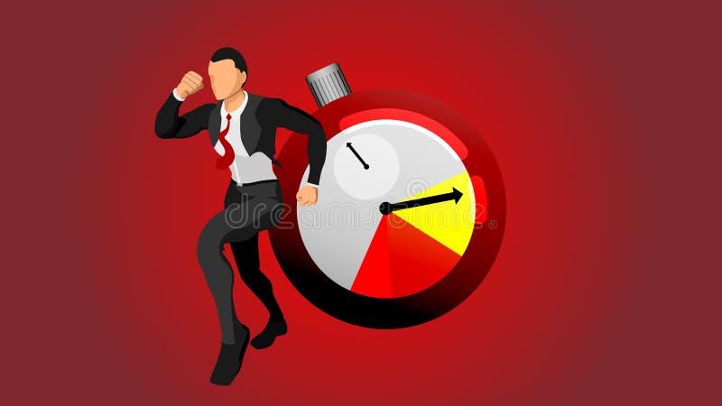 Het karakter van een lopende zakenman wordt meegesleept voor tijd royalty-vrije illustratie