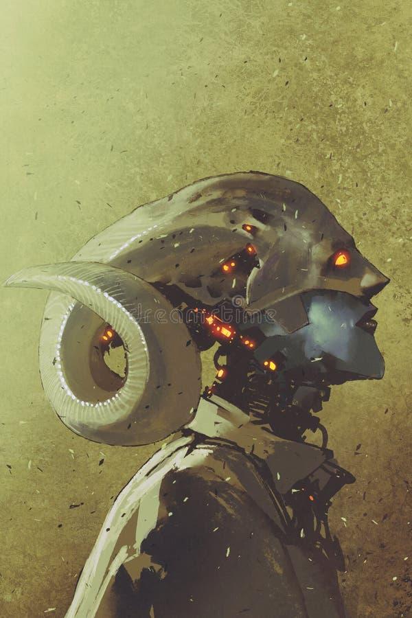 Het karakter van fantasie sc.i-FI van menselijk schepsel met gekrulde hoornen vector illustratie