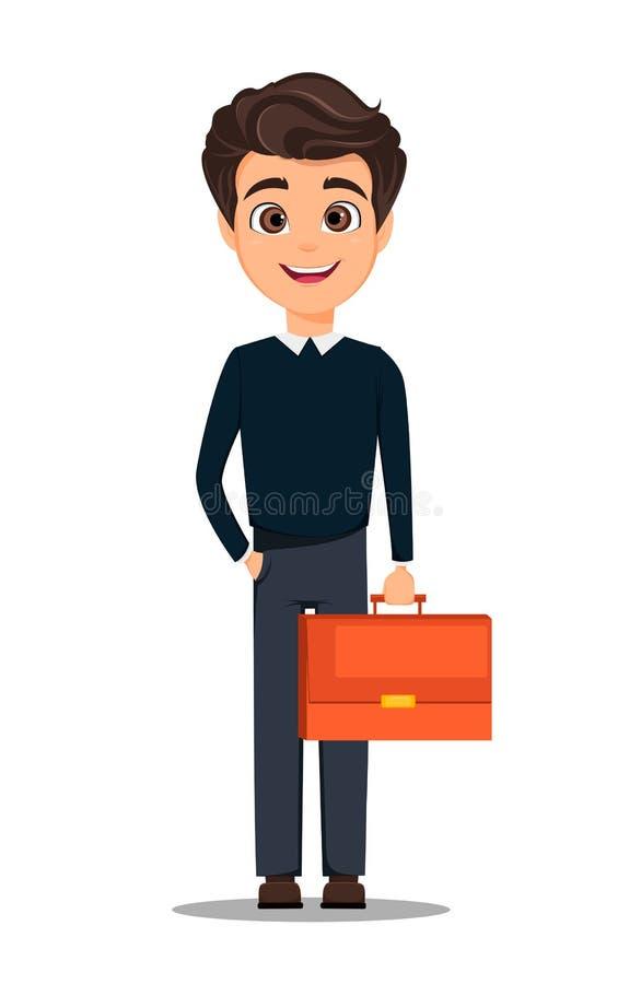 Het karakter van het bedrijfsmensenbeeldverhaal Jonge knappe glimlachende zakenman die in slimme vrijetijdskleding documentgeval  royalty-vrije illustratie