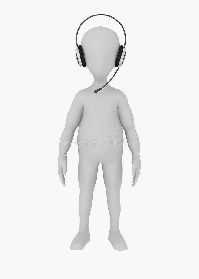 Het karakter van het beeldverhaal met hoofdtelefoons op hoofd 15 stock illustratie