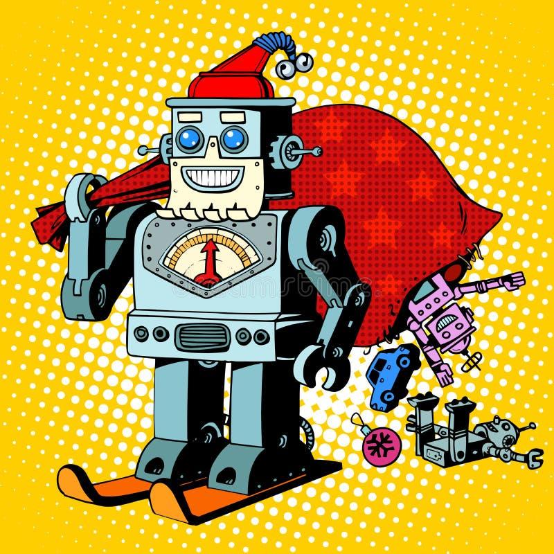 Het karakter van het de giftenhumeur van robotsanta claus christmas royalty-vrije illustratie