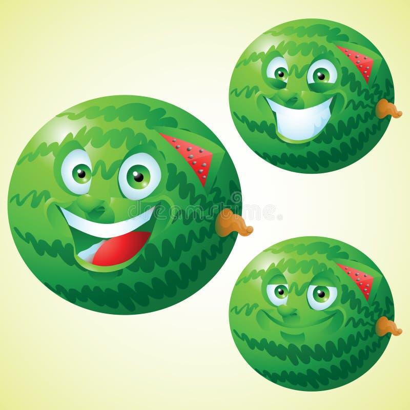 Het karakter van het de uitdrukkingsbeeldverhaal van het watermeloengezicht - reeks royalty-vrije illustratie