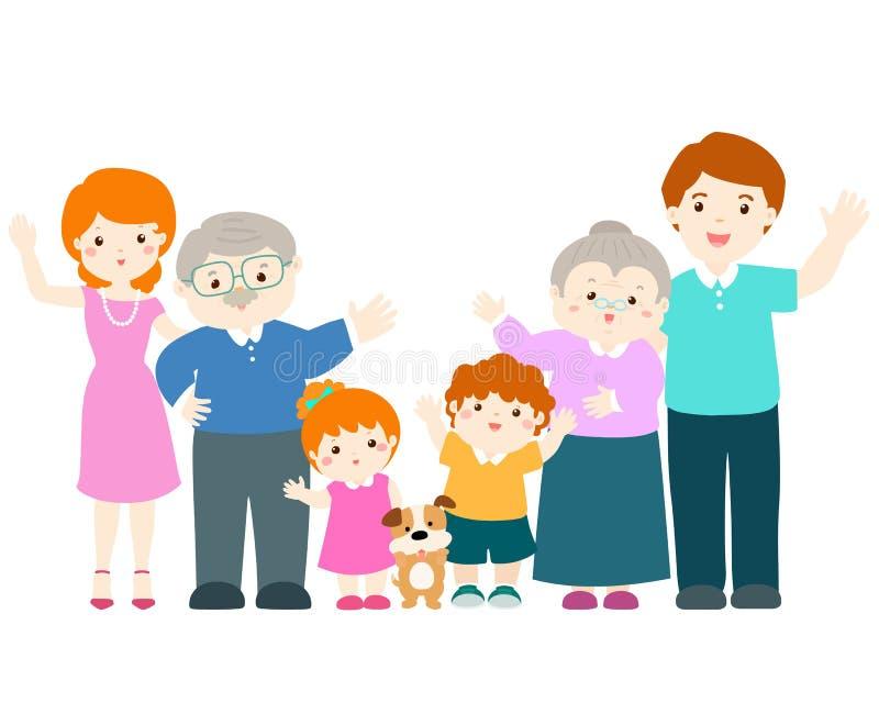 Het karakter van het familiebeeldverhaal royalty-vrije illustratie