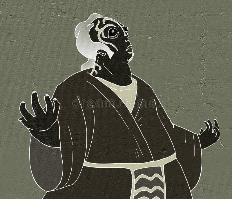 Het karakter van het Kabukitheater trekt royalty-vrije illustratie