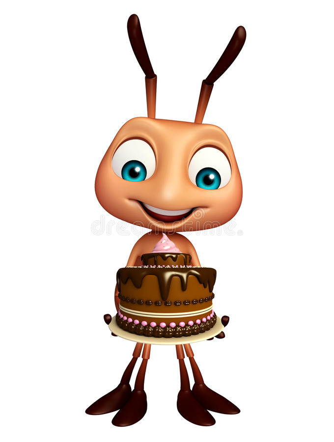 Het karakter van het mierenbeeldverhaal met cake royalty-vrije illustratie