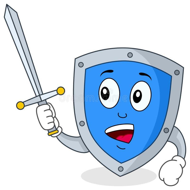 Het Karakter van het Schild van de veiligheid vector illustratie
