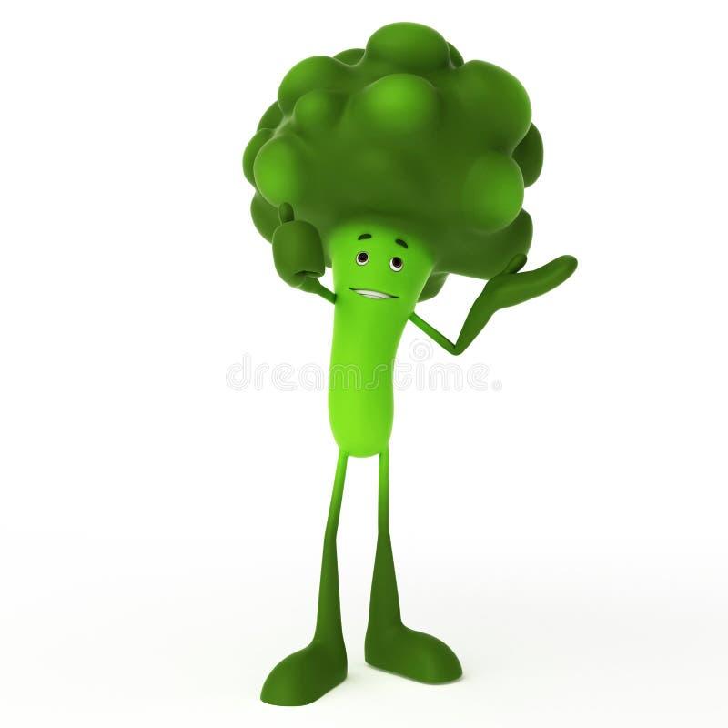 Het karakter van het voedsel - broccoli royalty-vrije illustratie