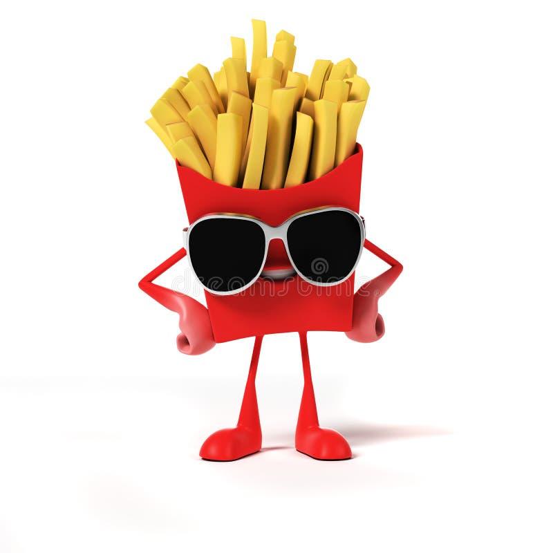 Het karakter van het voedsel - frieten vector illustratie