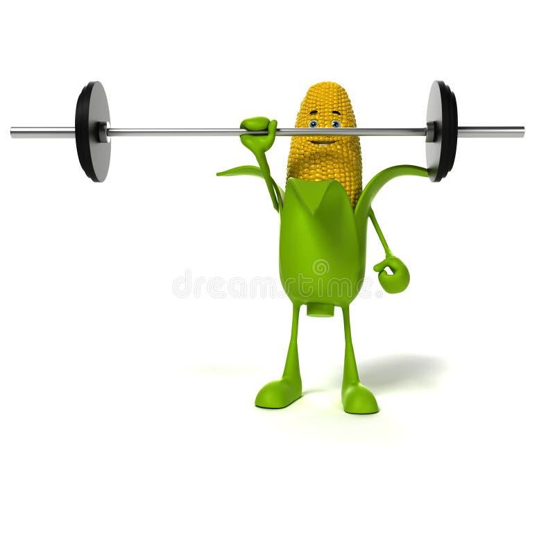 Het karakter van het voedsel - maïskolf vector illustratie