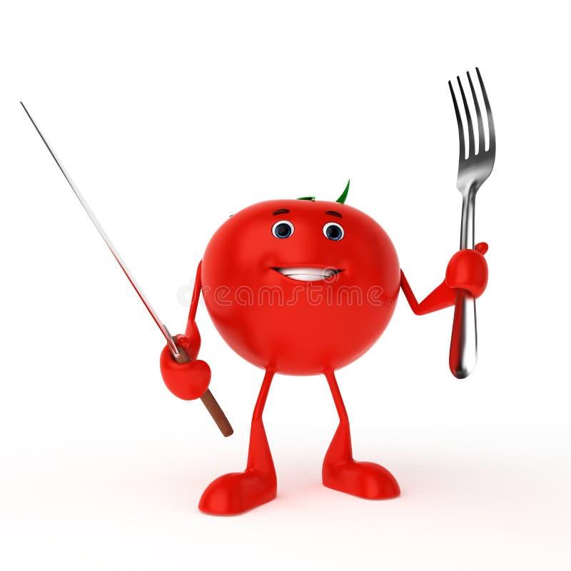 Het karakter van het voedsel - tomaat royalty-vrije illustratie