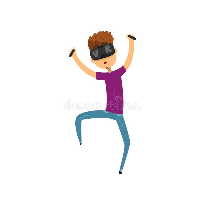 Het karakter van het jonge mensenbeeldverhaal in virtuele de holdingscontrolemechanismen van de werkelijkheidshoofdtelefoon, gokk royalty-vrije illustratie