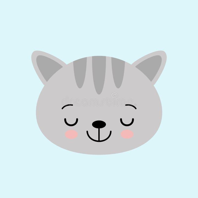Het karakter van het kattengezicht Een leuke grijze katjes Vectorillustratie voor groetkaart, uitnodiging vector illustratie