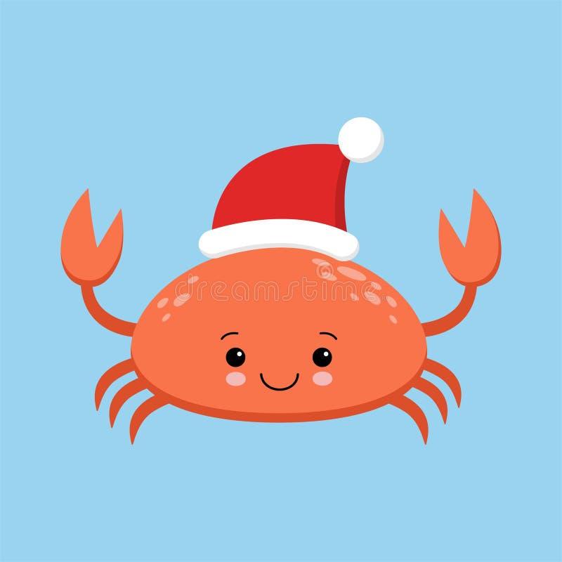 Het karakter van het krabbeeldverhaal Een Leuke krab die Santa Claus-hoed dragen die Vrolijke Kerstmis en de Gelukkige kaart van  stock illustratie