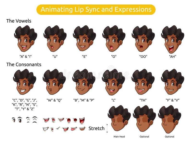 Het Karakter van het mensenbeeldverhaal voor het Animeren Lippensynchronisatie en Uitdrukkingen stock illustratie